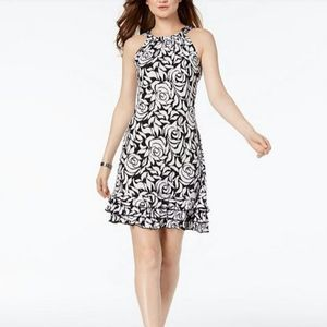 MSK Floral Embellished Ruffle Dress